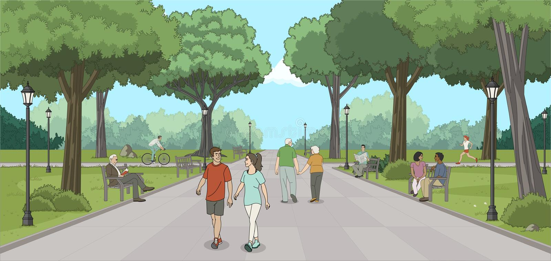 Gruppo di persone nel parco royalty illustrazione gratis