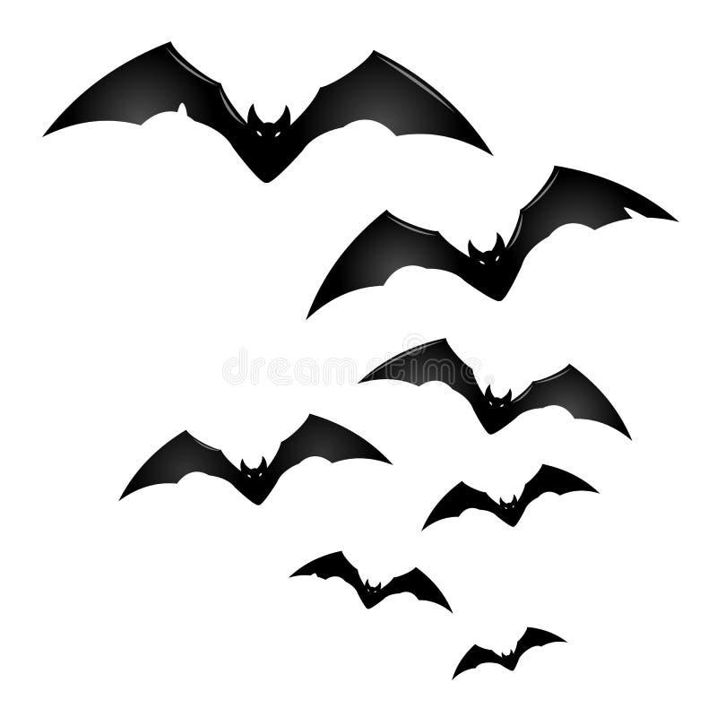 Gruppo di pipistrelli neri di volo illustrazione vettoriale