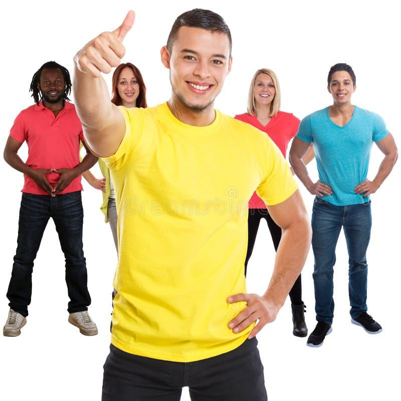 Gruppo di pollici di successo degli amici sui riusciti giovani quadrati isolati su bianco immagini stock libere da diritti