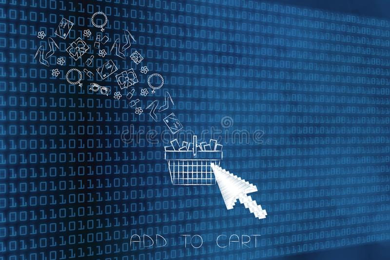 Gruppo di prodotti che volano nel cestino della spesa con il clicki del cursore royalty illustrazione gratis