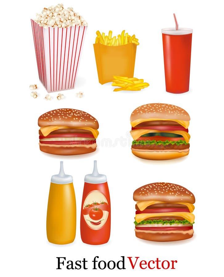 Gruppo di prodotti degli alimenti a rapida preparazione. Vettore royalty illustrazione gratis