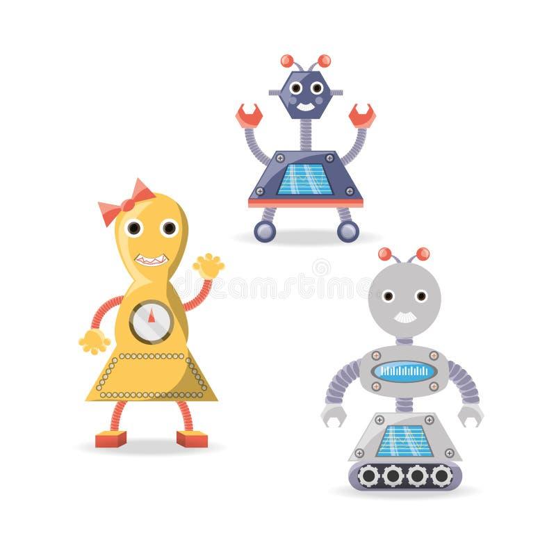 Gruppo di progettazione del fumetto del robot illustrazione di stock