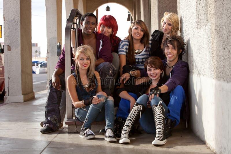 Gruppo di punk teenager fotografia stock