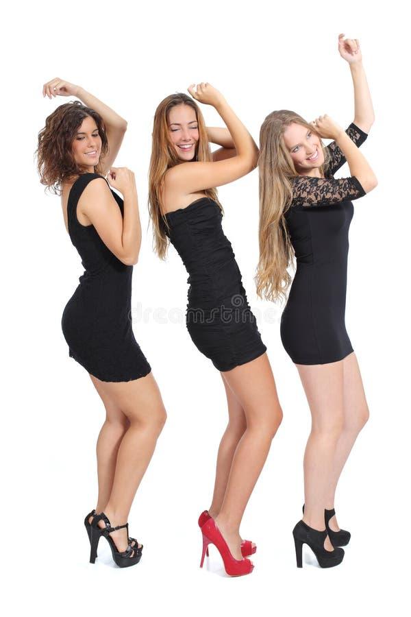 Gruppo di ragazze che ballano isolato fotografia stock