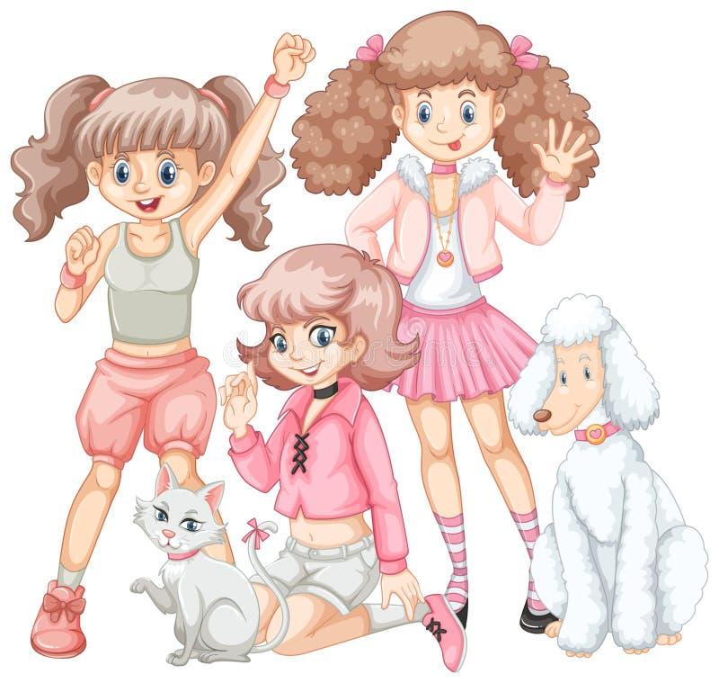 Gruppo di ragazze e di animali domestici royalty illustrazione gratis