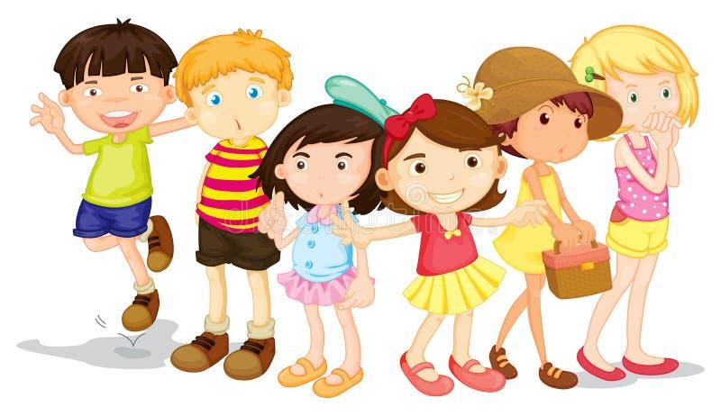 Gruppo di ragazzi e di ragazze royalty illustrazione gratis