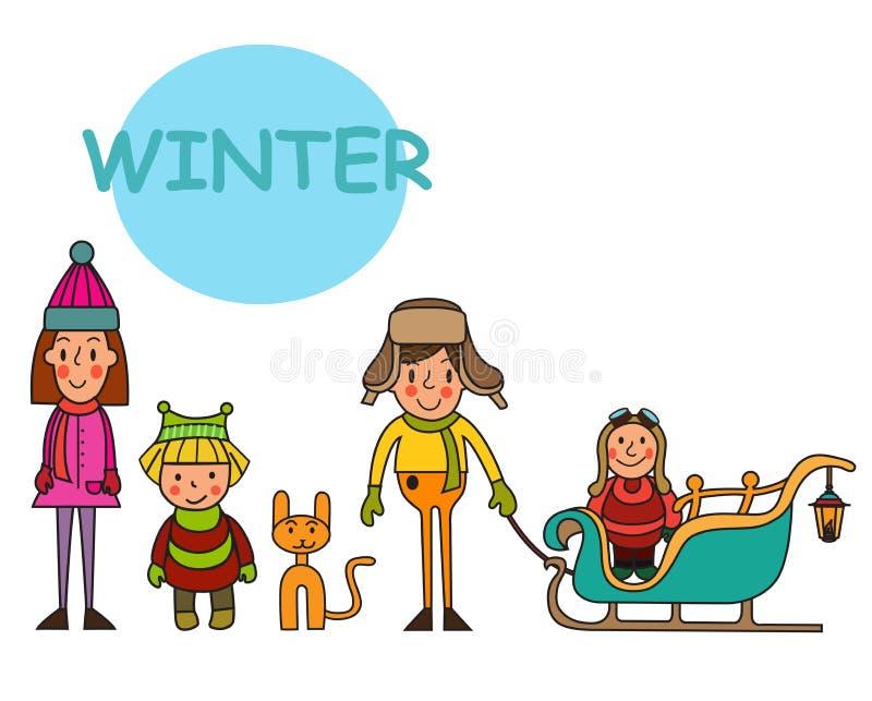 Gruppo di ragazzi e di ragazze di bambino-inverno Metta i bambini nell'inverno vittoria royalty illustrazione gratis