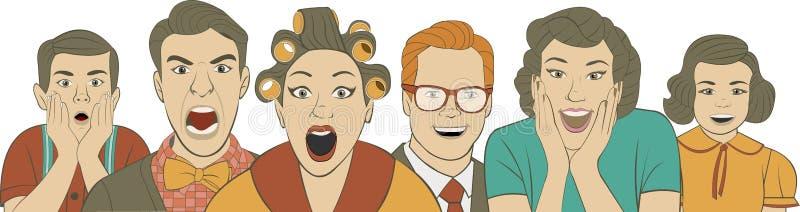 Gruppo di retro gente illustrazione vettoriale