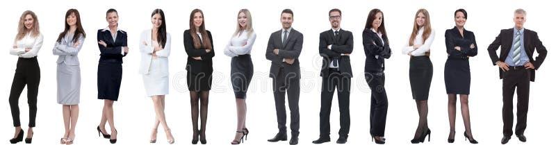 Gruppo di riuscita gente di affari isolata su bianco fotografia stock