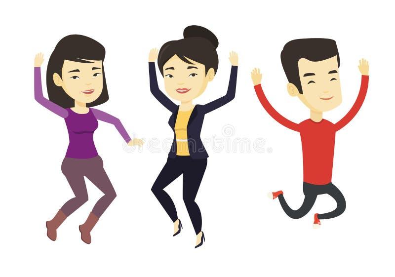 Gruppo di salto allegro dei giovani illustrazione di stock
