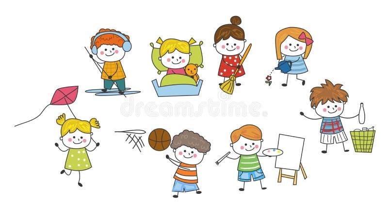 Gruppo di schizzo di bambini fotografie stock libere da diritti