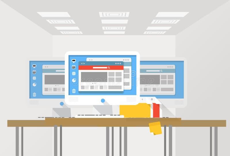Gruppo di stazioni di lavoro moderne del computer ad un ufficio illustrazione vettoriale