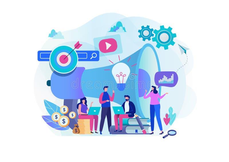 Gruppo di strategia di marketing di Digital Gestore soddisfatto Progettazione grafica del personaggio dei cartoni animati piano illustrazione di stock