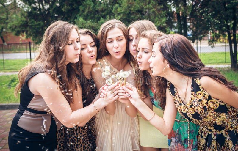 Gruppo di studentesse di college che soffiano i semi del dente di leone immagini stock