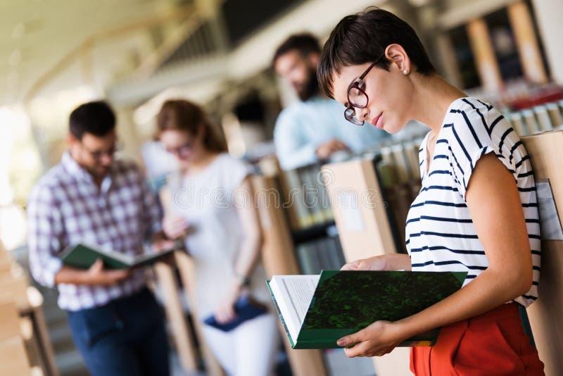 Gruppo di studenti di college che studiano alla biblioteca immagine stock libera da diritti