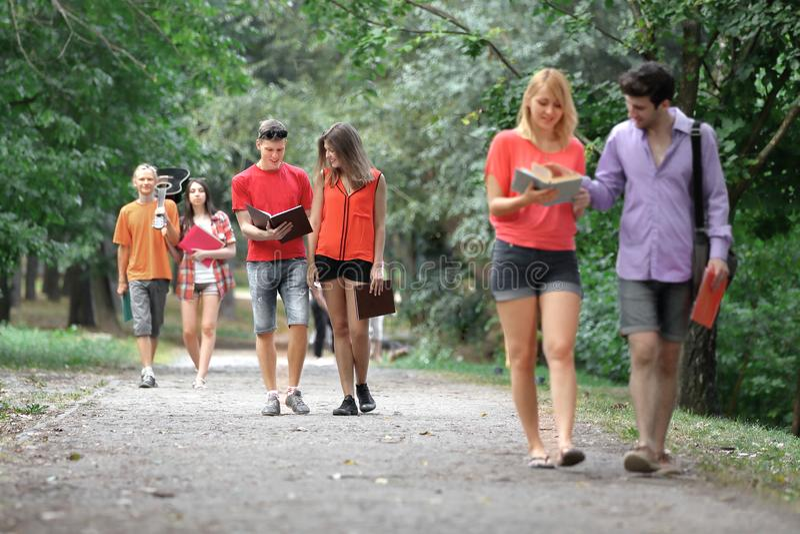 Gruppo di studenti di college su una passeggiata nel parco immagini stock