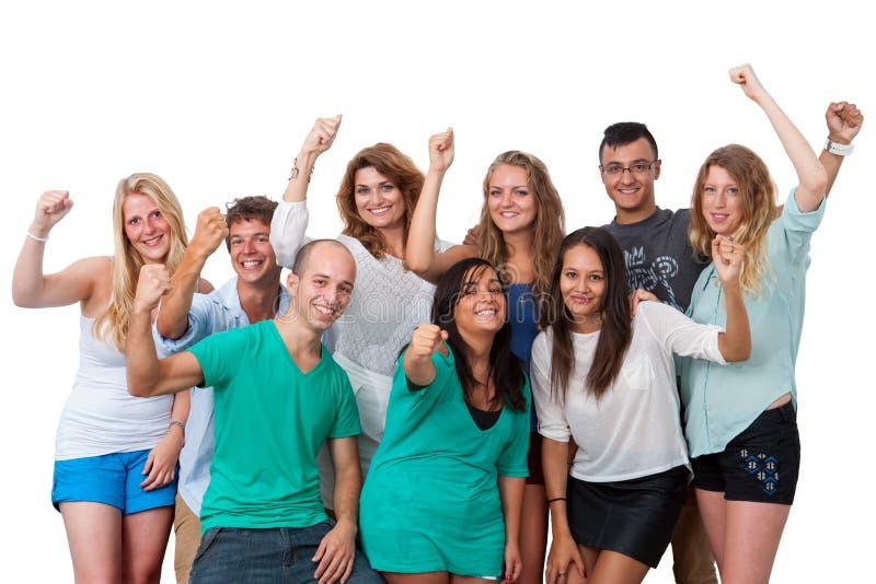 Gruppo di studenti con l'atteggiamento positivo. fotografia stock