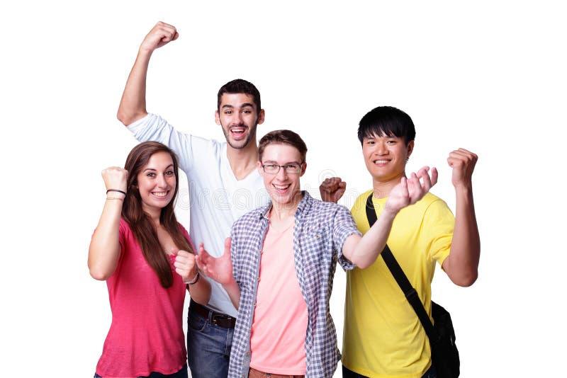 Gruppo di studenti emozionanti fotografie stock libere da diritti