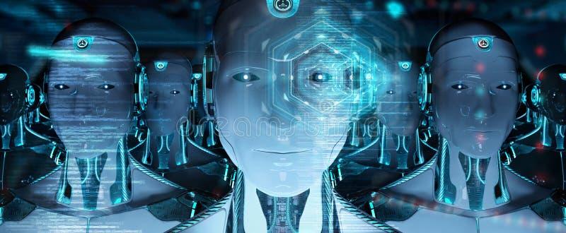 Gruppo di teste maschii dei robot facendo uso della rappresentazione digitale degli schermi 3d dell'ologramma royalty illustrazione gratis