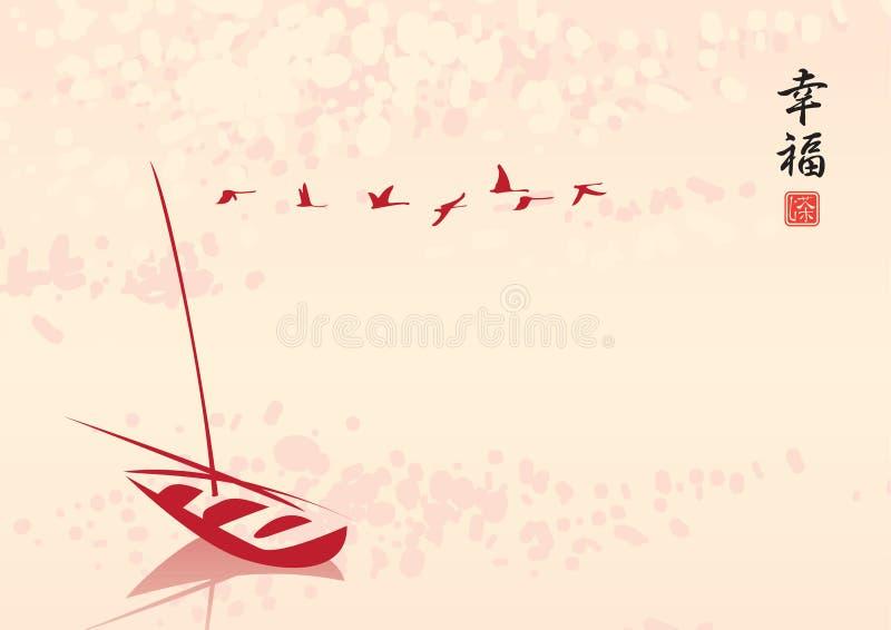 Gruppo di uccelli sopra il lago illustrazione vettoriale