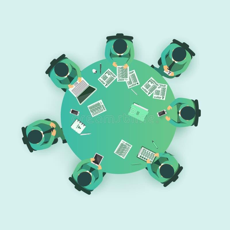 Gruppo di uomo d'affari che ha una riunione illustrazione di stock
