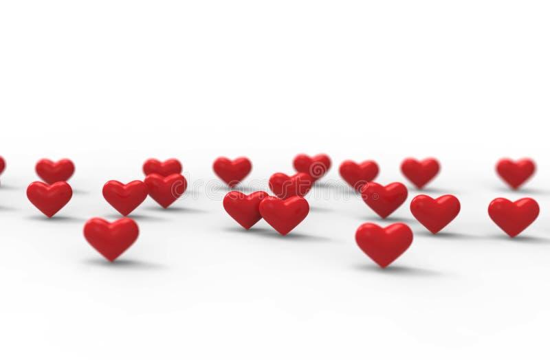 Gruppo di Valentine Hearts su fondo bianco rappresentazione 3d illustrazione vettoriale