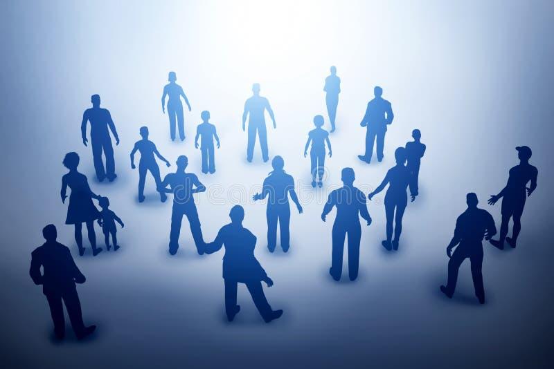 Gruppo di varia gente che guarda verso la luce, futuro immagine stock libera da diritti