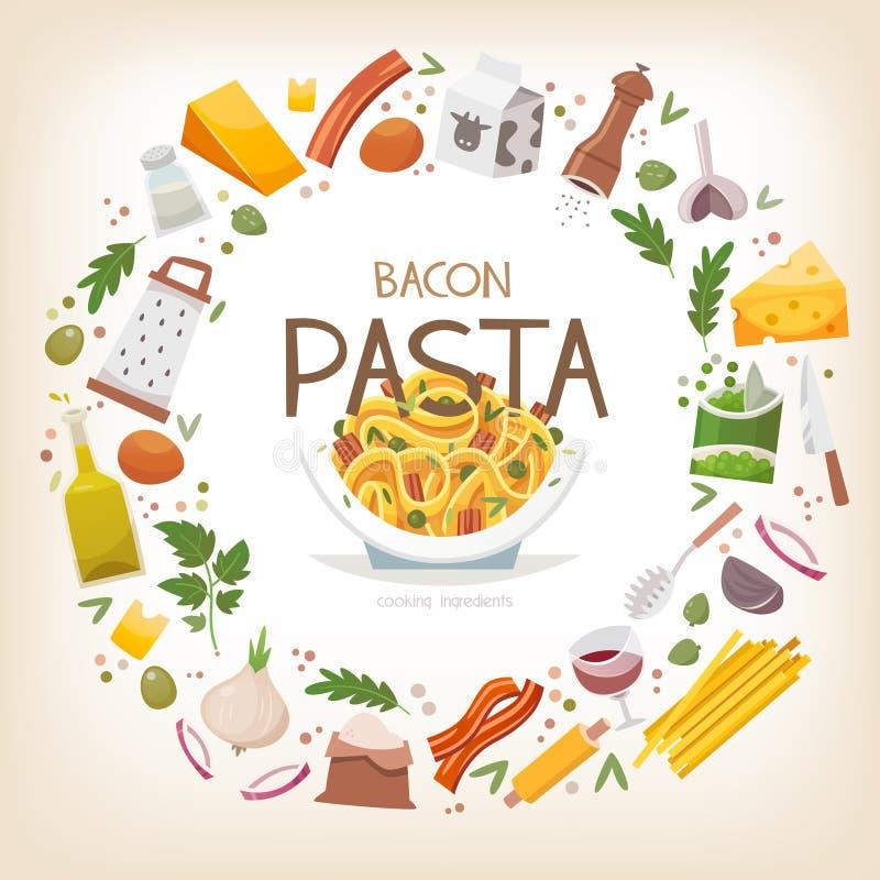 Gruppo di verdure, di prodotti lattier-caseario e di arrang degli ingredienti della pasta illustrazione vettoriale