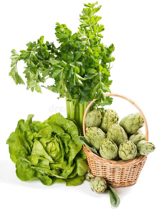 Gruppo di verdure verdi assortite organiche fresche crude fotografia stock