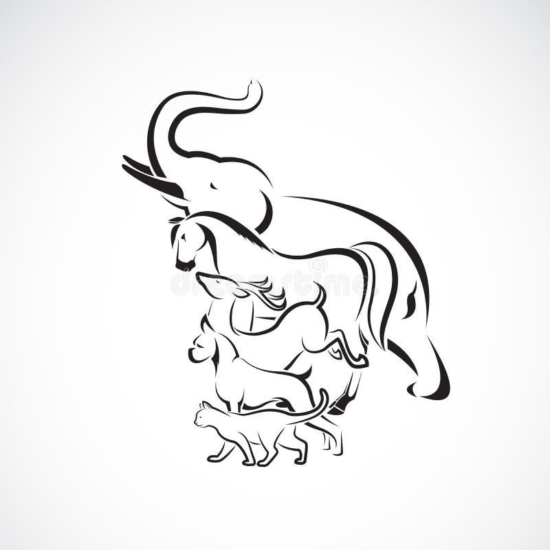 Gruppo di vettore di progettazione animale Logo o icona animale, illustrazione stratificata editabile facile di vettore illustrazione di stock