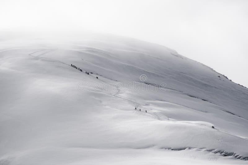 Gruppo di viandanti che scalano sul ghiacciaio fotografie stock libere da diritti