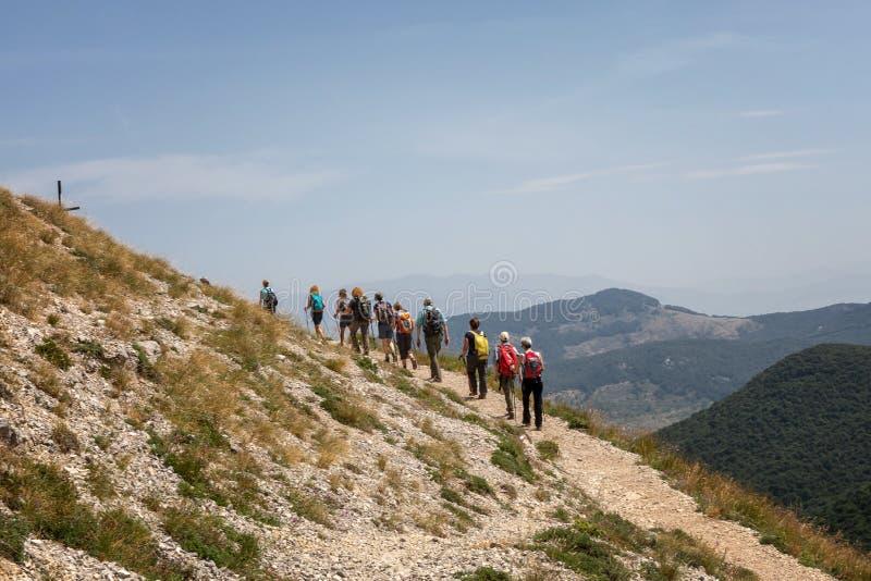 Gruppo di viandanti sul percorso della montagna fotografie stock