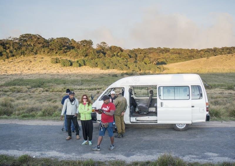 Gruppo di Videographers che si prepara per la fucilazione del video documentario al parco nazionale durante il tempo di tramonto fotografia stock libera da diritti