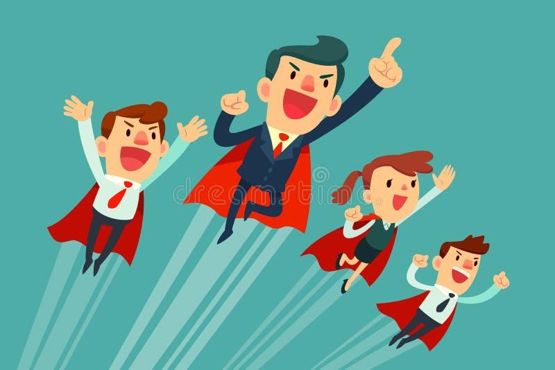 Gruppo eccellente di affari in capi rossi che volano verso l'alto illustrazione vettoriale
