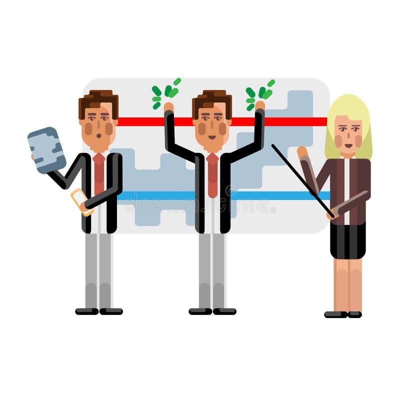 Gruppo europeo di affari che presenta il vostro progetto royalty illustrazione gratis