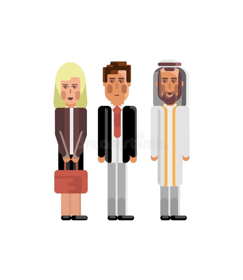 Gruppo europeo ed arabo di affari illustrazione vettoriale