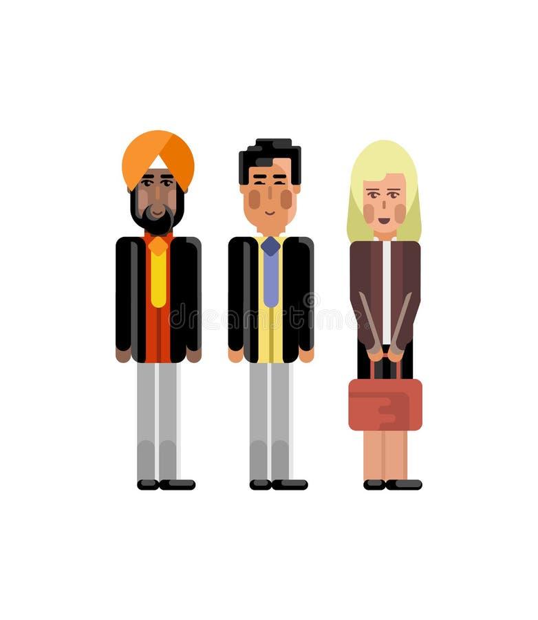 Gruppo europeo ed indiano di affari royalty illustrazione gratis