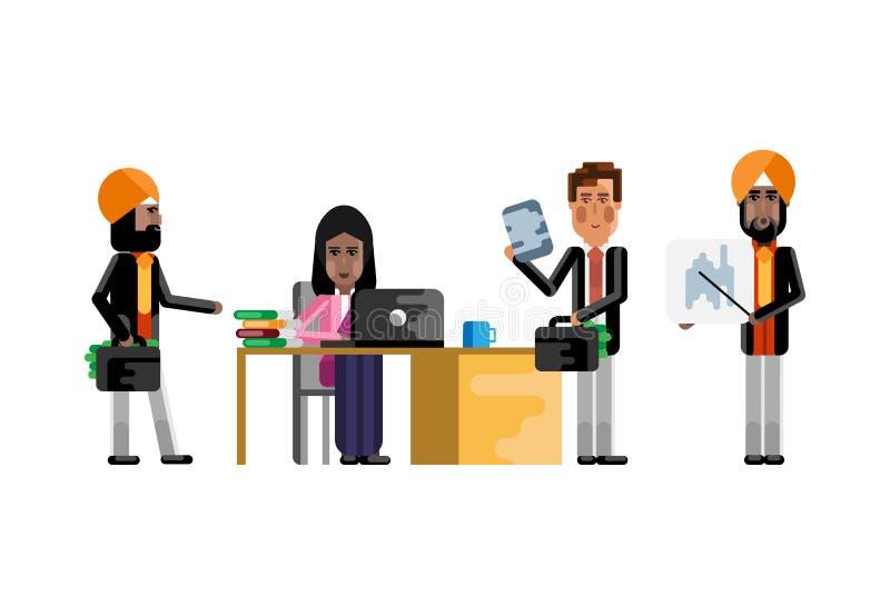 Gruppo europeo ed indiano di affari in ufficio illustrazione di stock