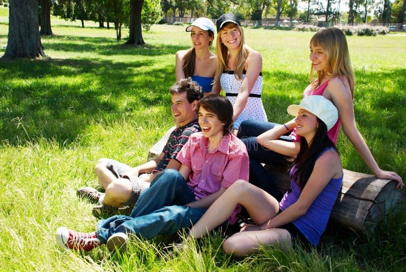 Gruppo felice di amici che sorridono all'aperto fotografie stock