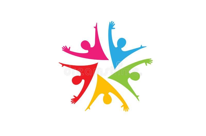 Gruppo felice variopinto Team Logo della gente illustrazione vettoriale