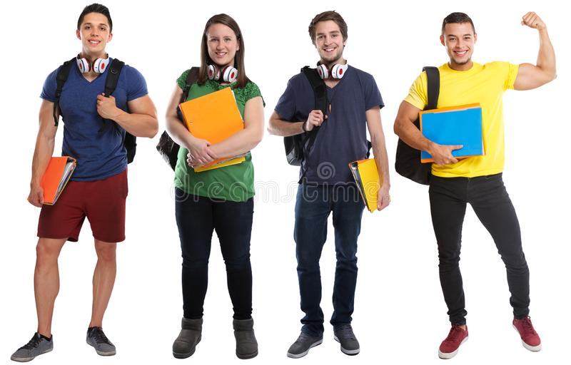 Gruppo gente di potere di giovane successo degli studenti di riuscita forte isolata su bianco immagine stock