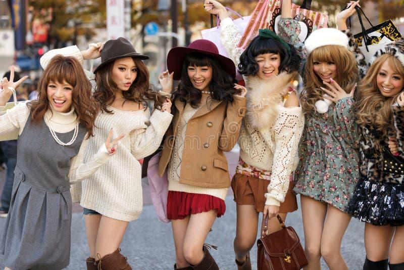 Gruppo giapponese delle ragazze di modo immagine stock libera da diritti