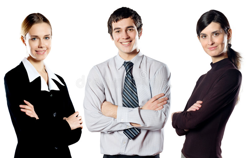 Gruppo isolato di giovane squadra sorridente felice di affari fotografie stock
