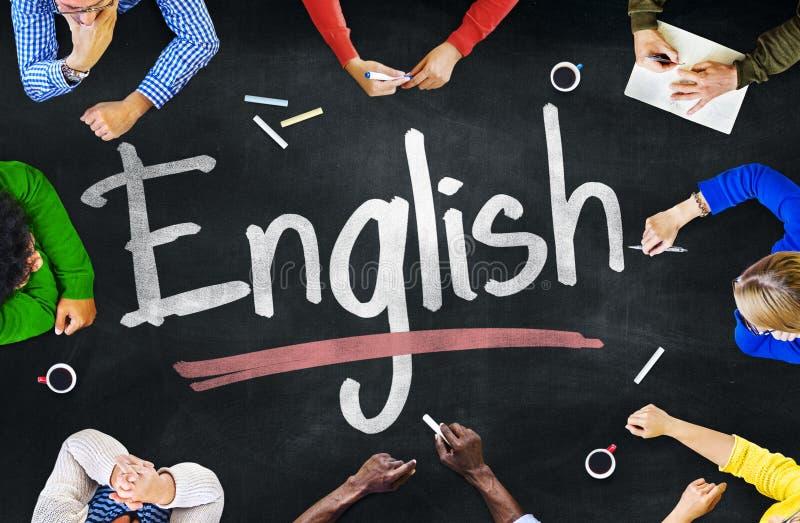 Gruppo multietnico di bambini e di concetto inglese immagini stock libere da diritti