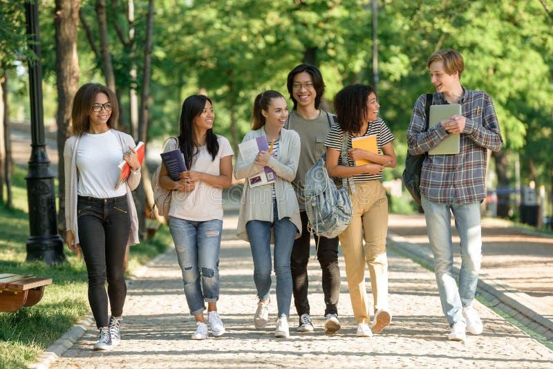 Gruppo multietnico di giovane camminata allegra degli studenti immagini stock libere da diritti