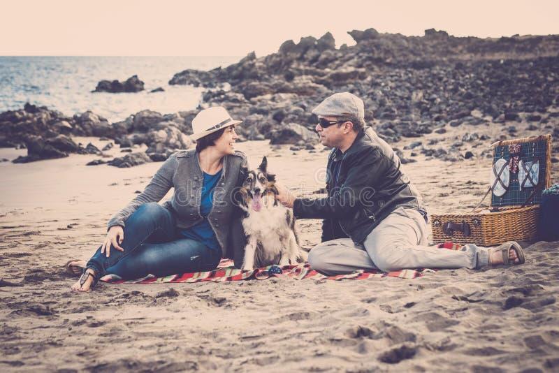 Gruppo piacevole di giovani del cane, dell'uomo e della donna divertendosi insieme alla spiaggia che fa picnic e che gode dello s fotografie stock