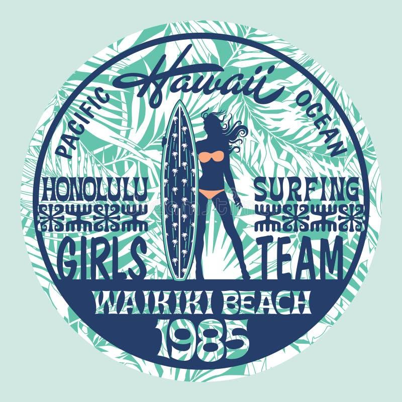 Gruppo praticante il surfing delle ragazze delle Hawai royalty illustrazione gratis