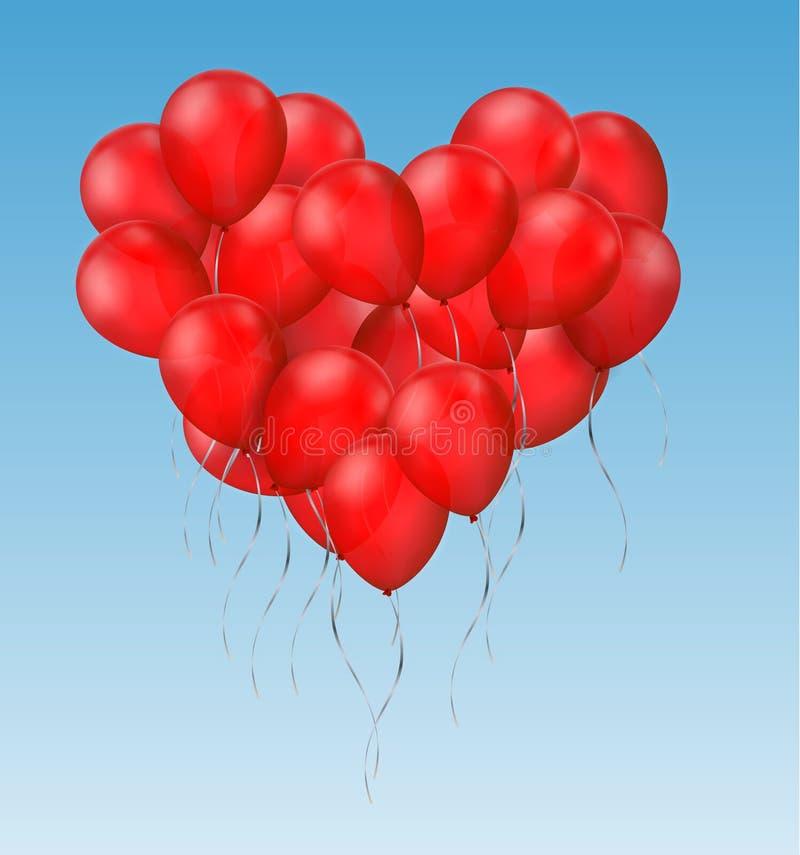 Gruppo realistico di vettore di palloni brillanti rossi nella forma del volo del cuore sul cielo blu royalty illustrazione gratis
