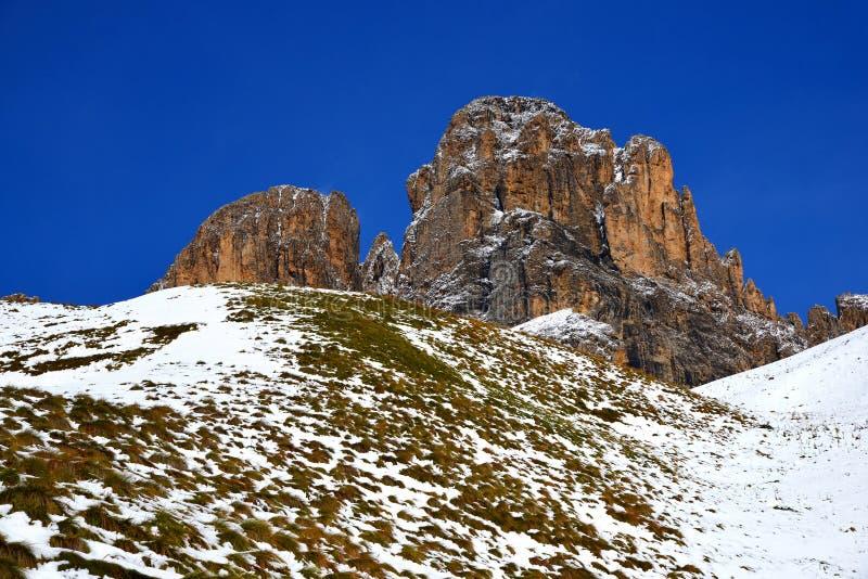 Gruppo Sassolungo Langkofel della montagna Il Tirolo del sud, Italia fotografia stock