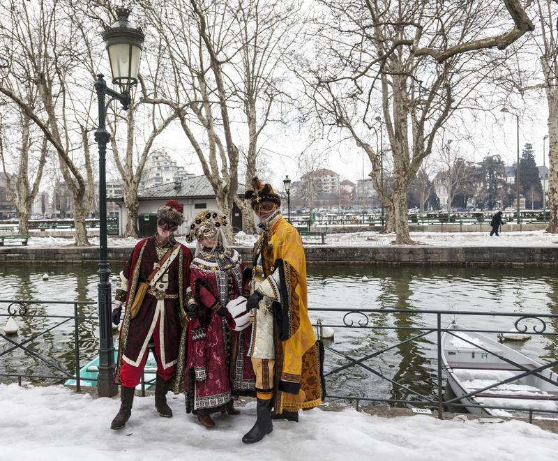 Gruppo travestito - carnevale veneziano 2013 di Annecy immagini stock libere da diritti